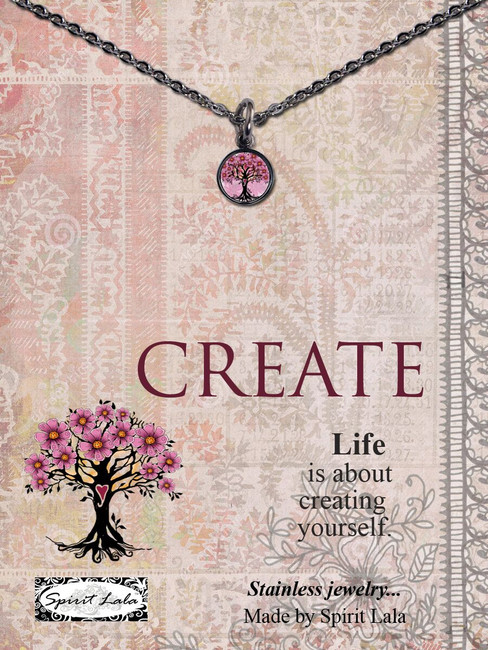 Carded Pink Tree Small Circle Necklace