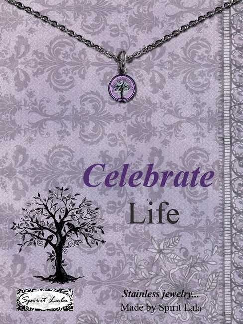 Carded Purple Tree Small Circle Necklace