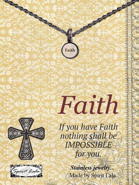 Carded Faith Small Circle Necklace
