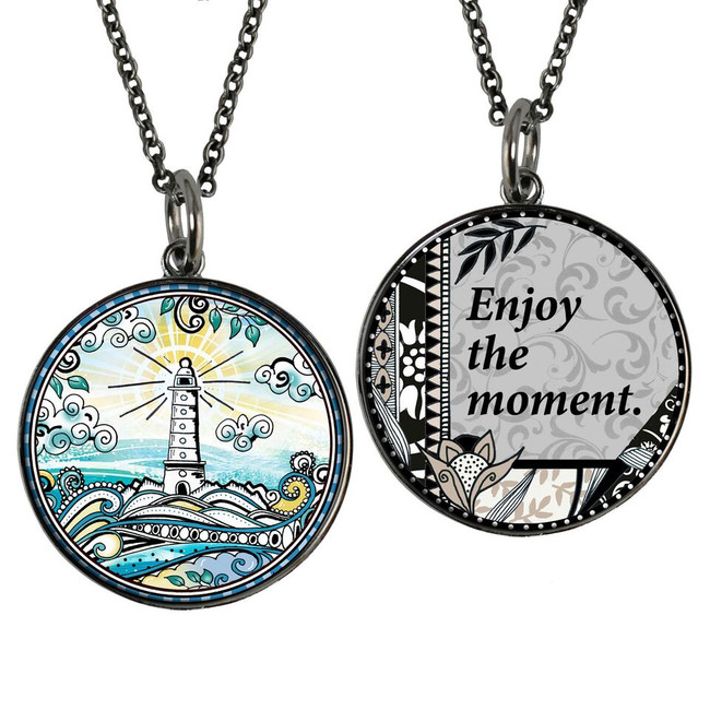 Lighthouse Reversible Circular Pendant