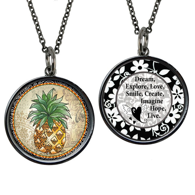 Pineapple Reversible Circular Pendant