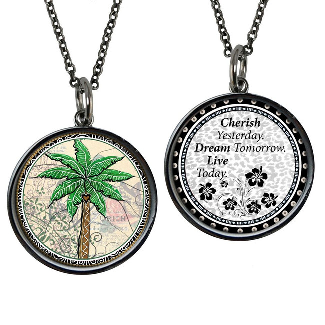 Palm Tree Reversible Circular Pendant