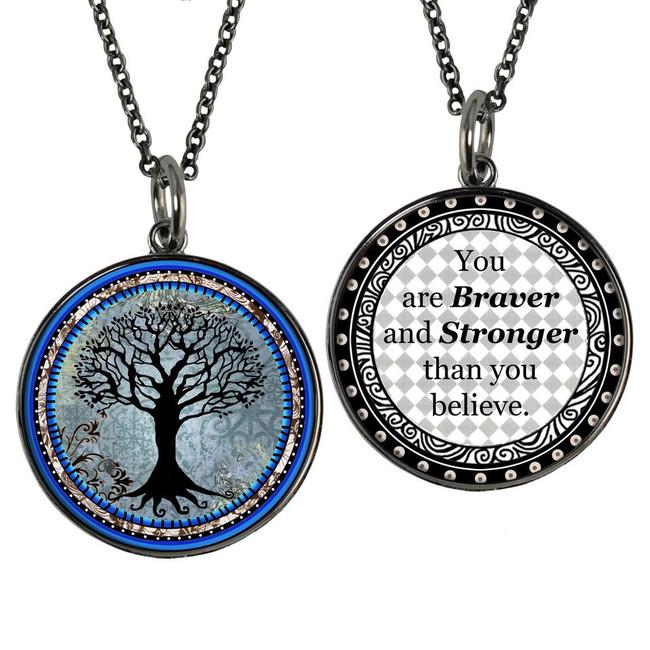 Tree of Life Dark Blue Reversible Circular Pendant