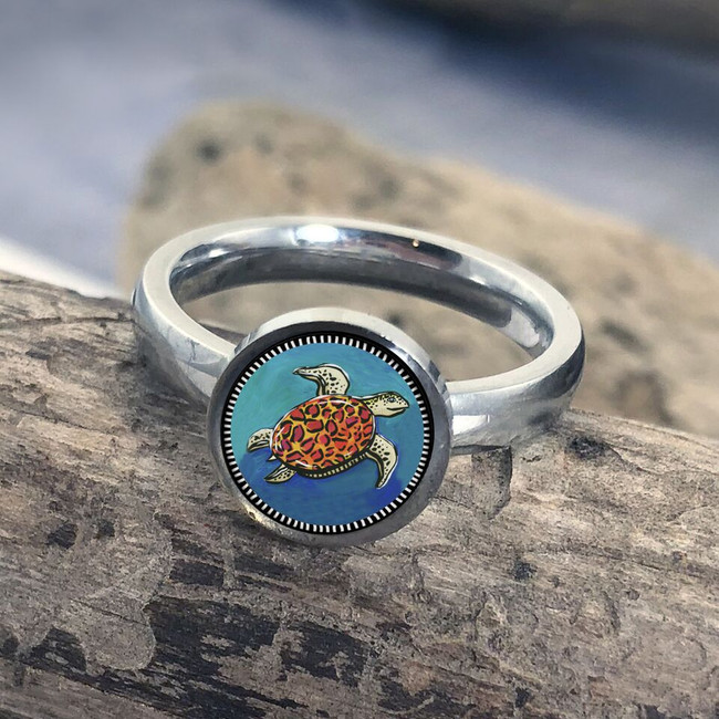 Blue Turtle Stainless Art Ring
