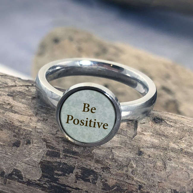 Be Positive Stainless Art Ring