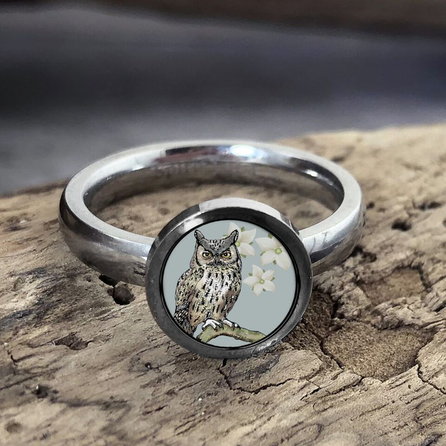 Teal Owl Stainless Art Ring