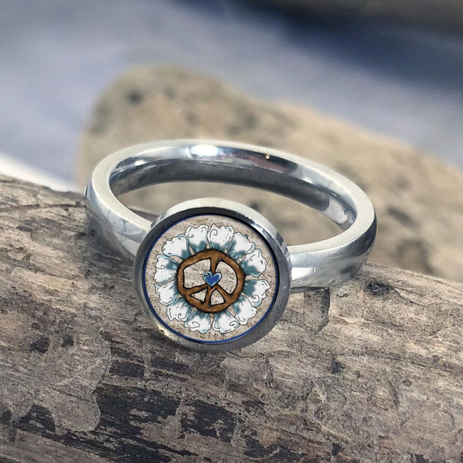 Floral Peace Sign Stainless Art Ring