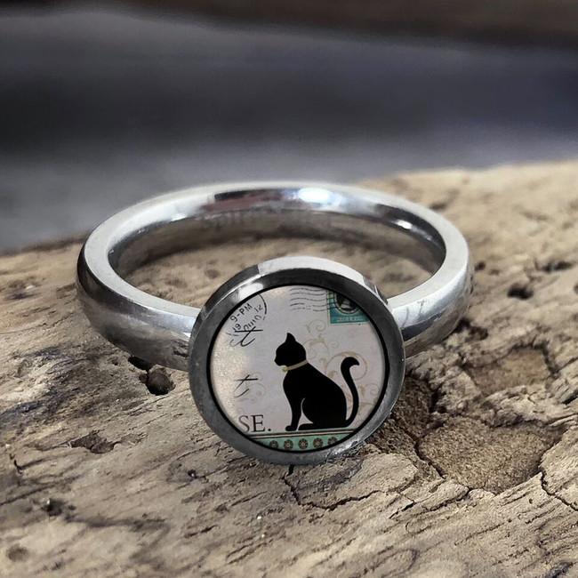Vintage Cat Stainless Art Ring