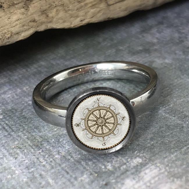 Vintage Ship Wheel Stainless Art Rings