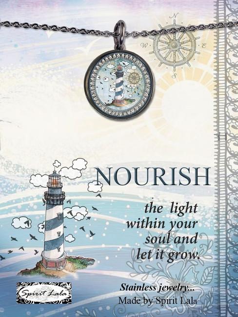 Carded Lighthouse Reversible Medium Circle Necklace