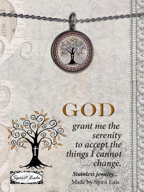 Carded Tree of Life Cross Reversible Medium Circular Necklace