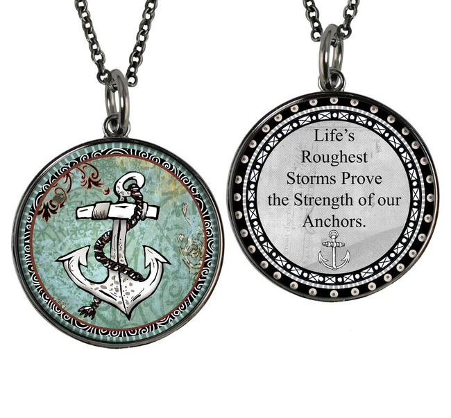 White Anchor Reversible Circular Pendant