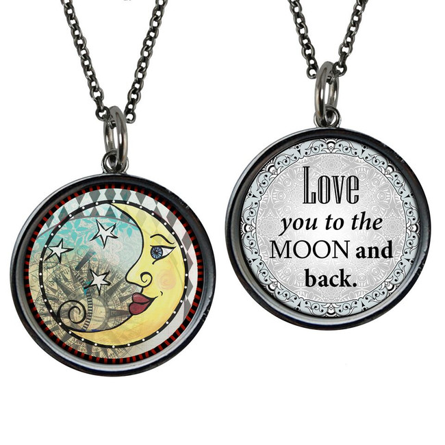 Moon Love Reversible Circular Pendant