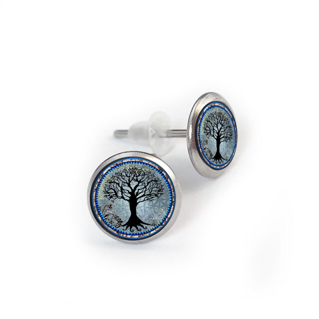 Tree of Life Dark Blue Stainless Stud Earring