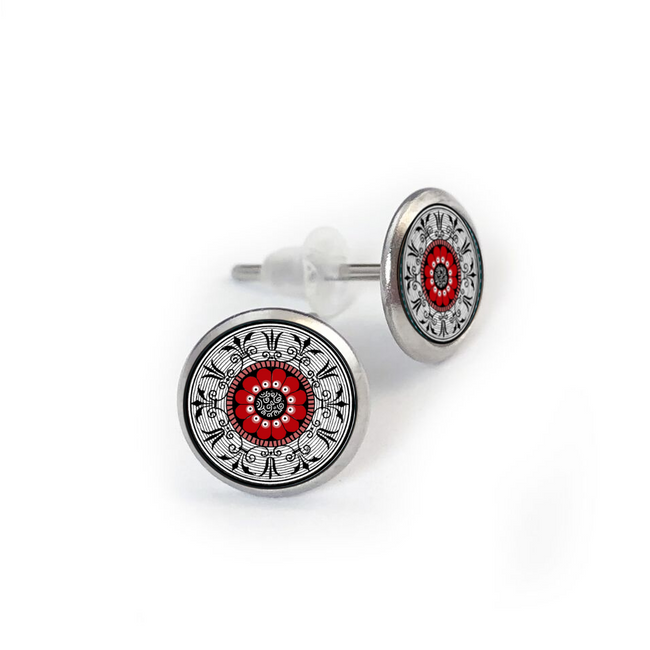 Red Medallion Stainless Stud Earring