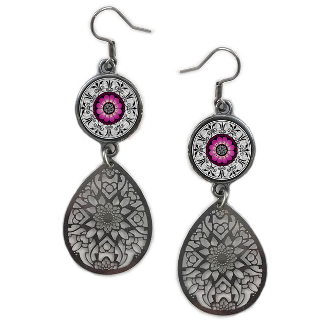 Fushia Circle Filigree Drop Earring