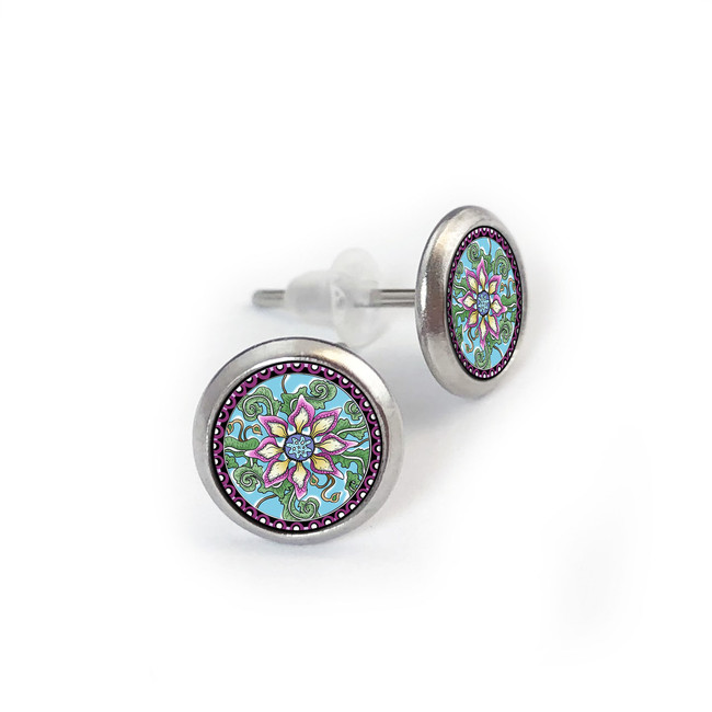 Passion Flower Stainless Stud Earring