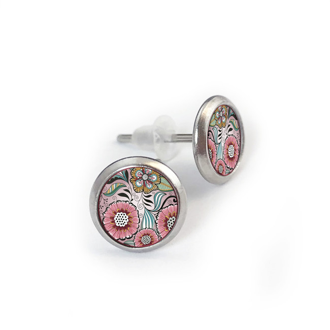 Pink Floral Stainless Stud Earring