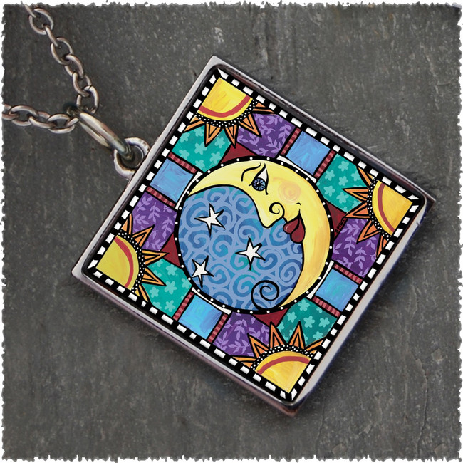 Moon & Stars Square Reversible Pendant