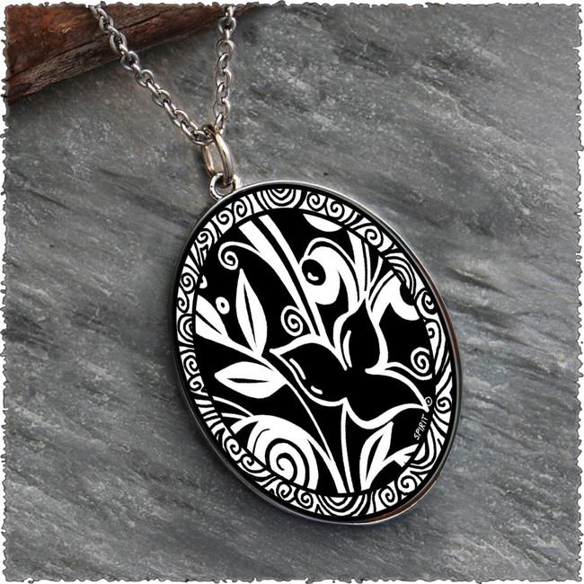 Flower Black Reversible Silver Oval Pendant
