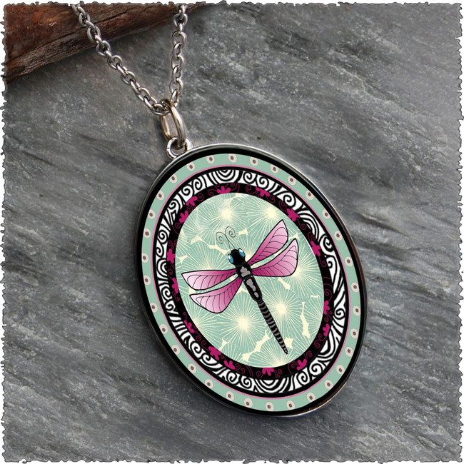 Green Dragonfly Reversible Silver Oval Pendant