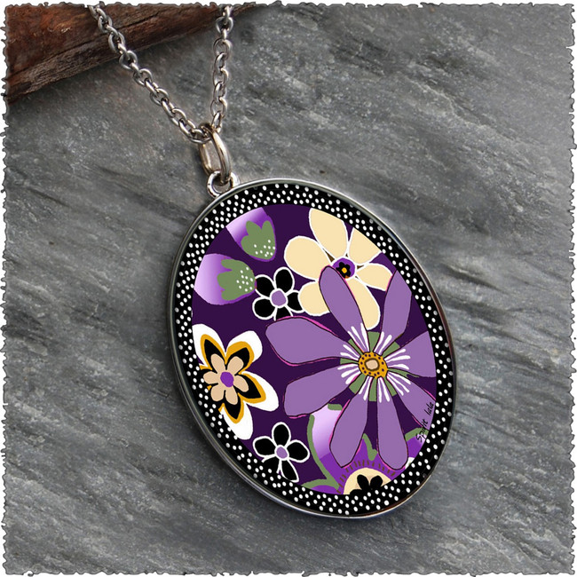 Purple Retro Flower Reversible Silver Oval Pendant