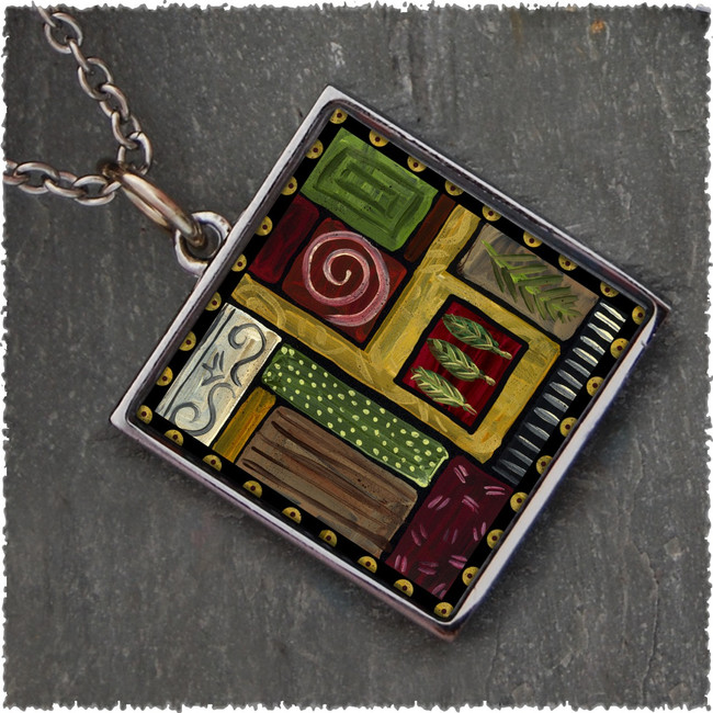 Scroll Abstract Square Reversible Pendant