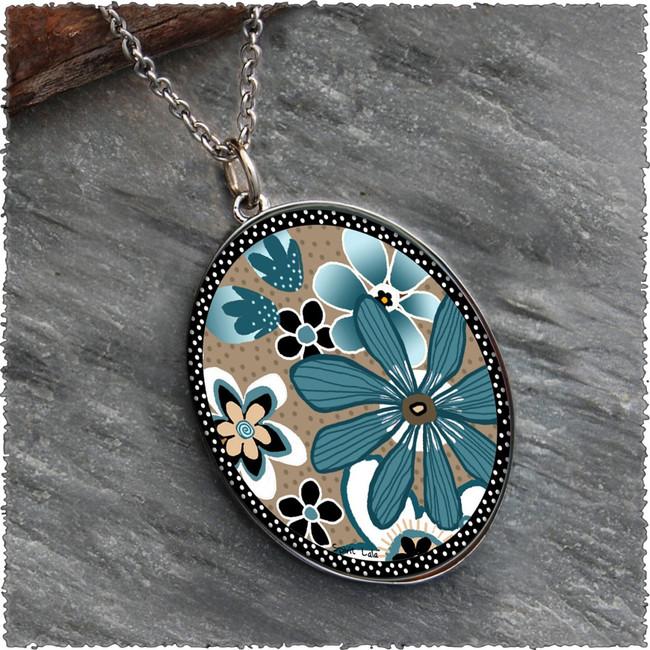 Teal Flower Reversible Silver Oval Pendant