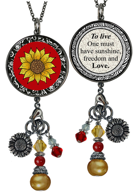 Sunflower Red Reversible Circular Charm & Bead Pendant