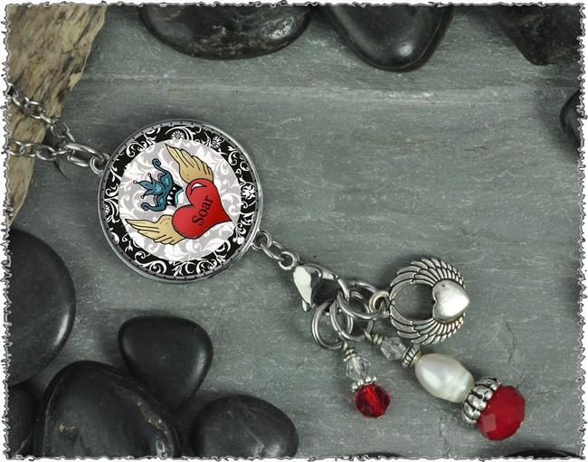 Heart Soar Reversible Circular Charm & Bead Pendant