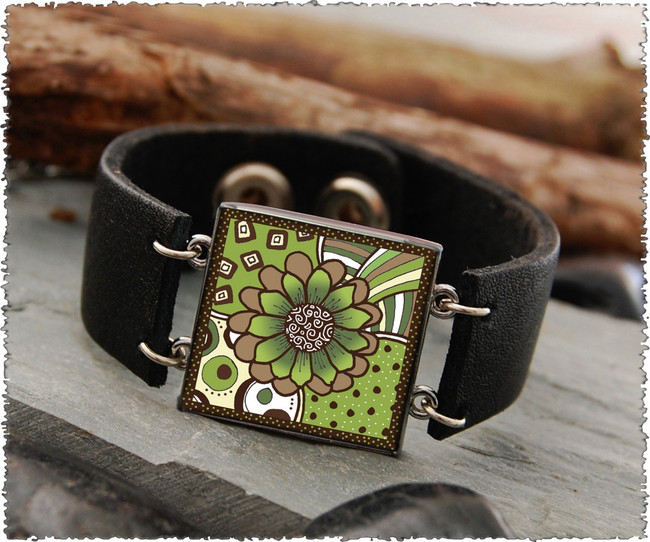 Green Brown Flower Double Sided Leather Cuff Bracelet