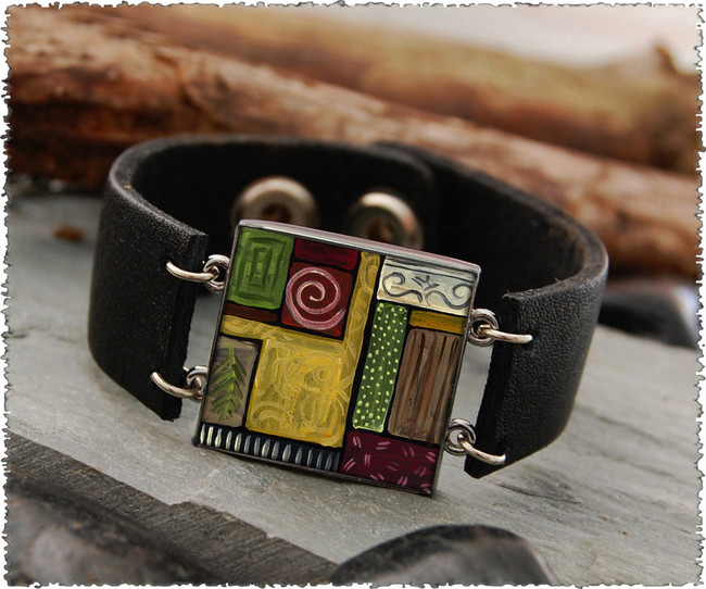 Scroll Abstract Double Sided Leather Cuff Bracelet