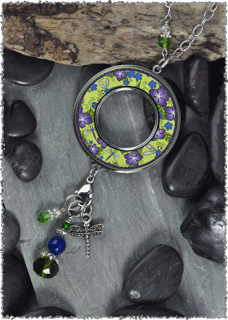 Dragonfly Reversible Beaded Open Circle Charm Pendant