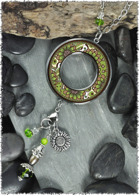 Green Brown Flower Reversible Beaded Open Circle Charm Pendant
