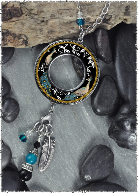 Peacock Black Reversible Beaded Open Circle Charm Pendant