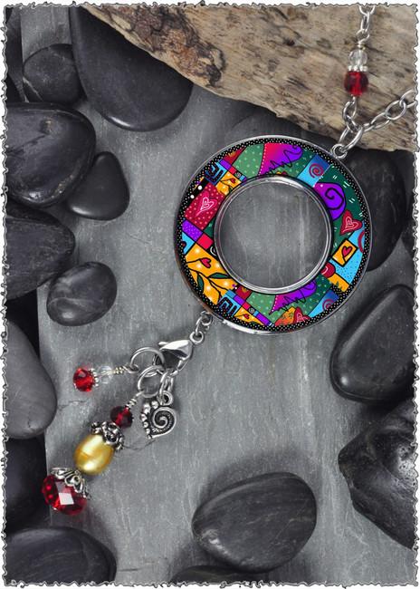 Wild Heart Reversible Beaded Open Circle Charm Pendant