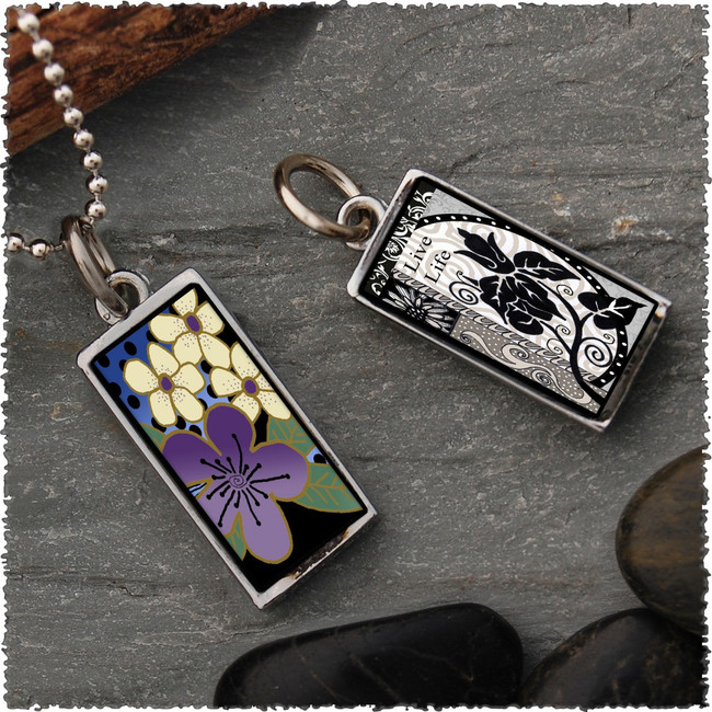 Purple Flower Reversible Rectangular Pendant