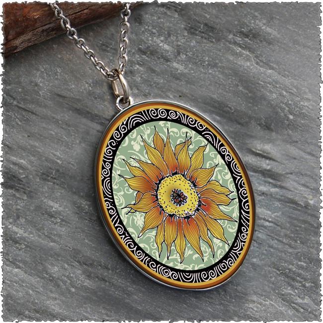 Sunflower Green Reversible Silver Oval Pendant