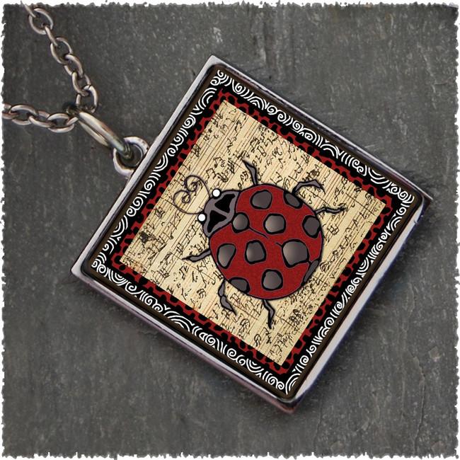 Ladybug M Reversible Square Pendant