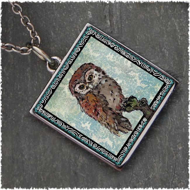 Owl Blue Reversible Square Pendant