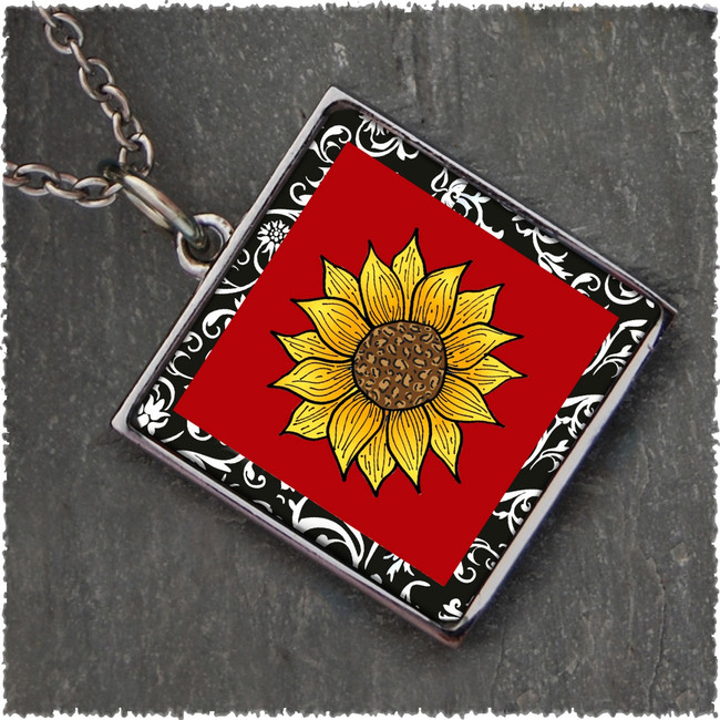 Sunflower Red Reversible Square Pendant