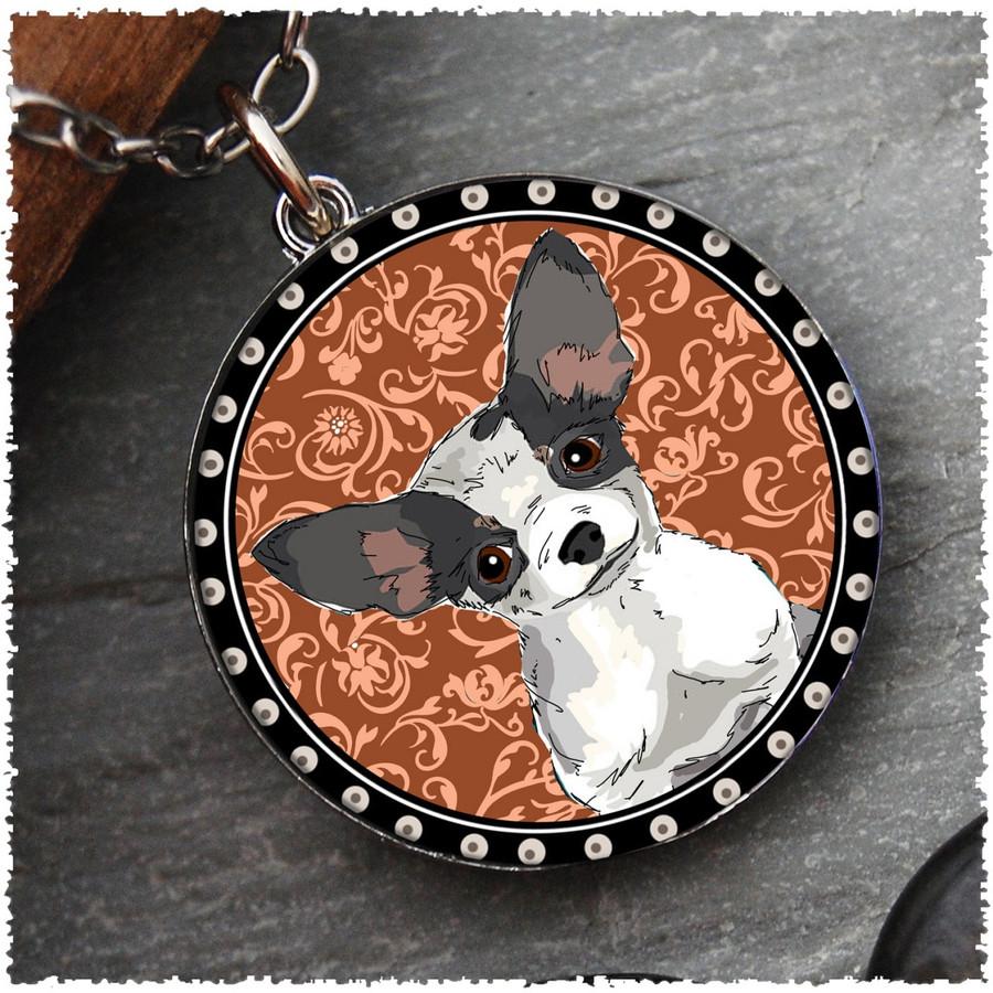Chihuahua Reversible Circular Pendant