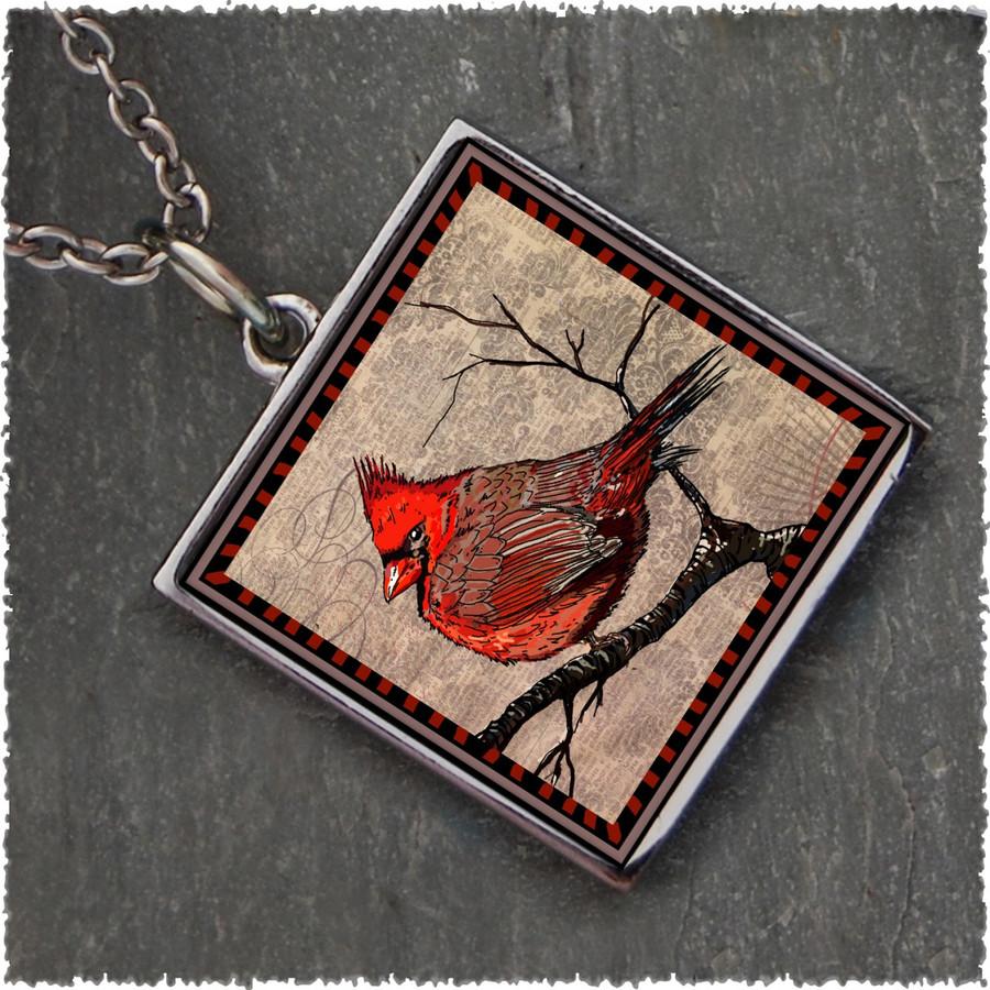 Cardinal Square Reversible Pendant