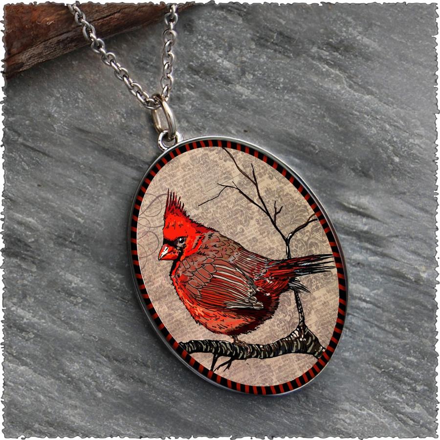 Cardinal Reversible Silver Oval Pendant