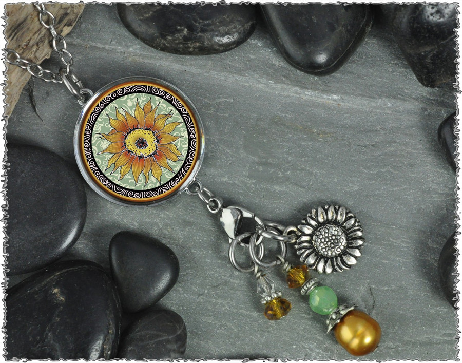 Sunflower Green Reversible Circular Charm & Bead Pendant