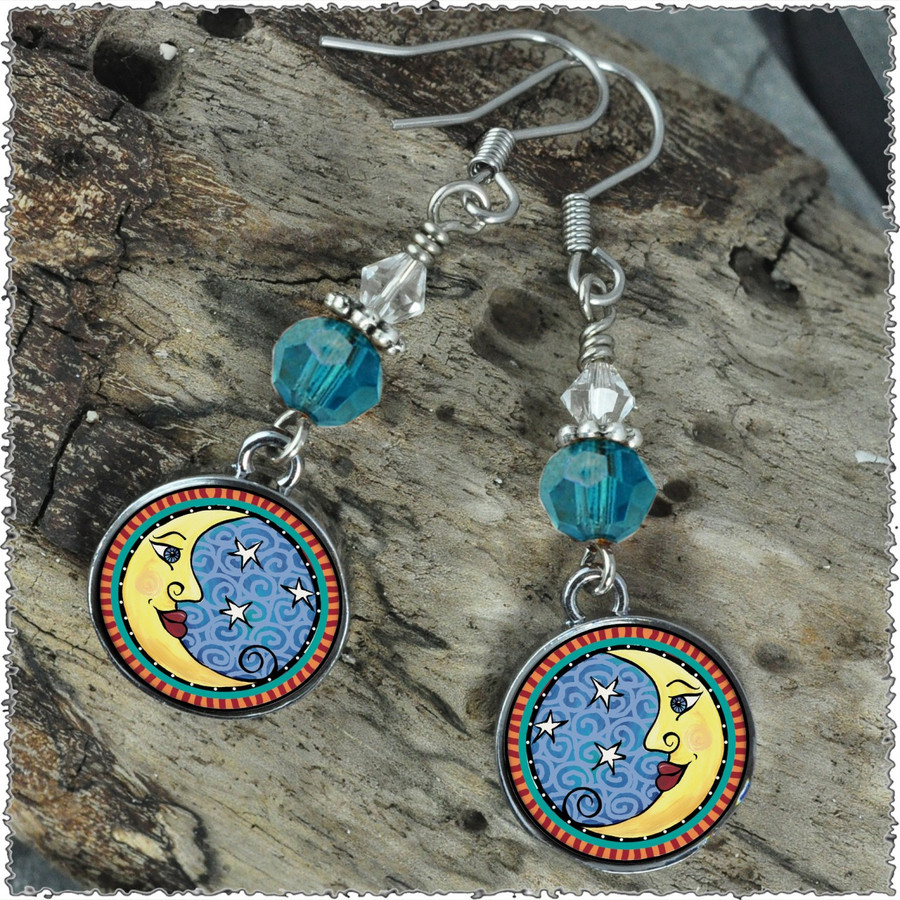 Moon Crystal Circular Earrings