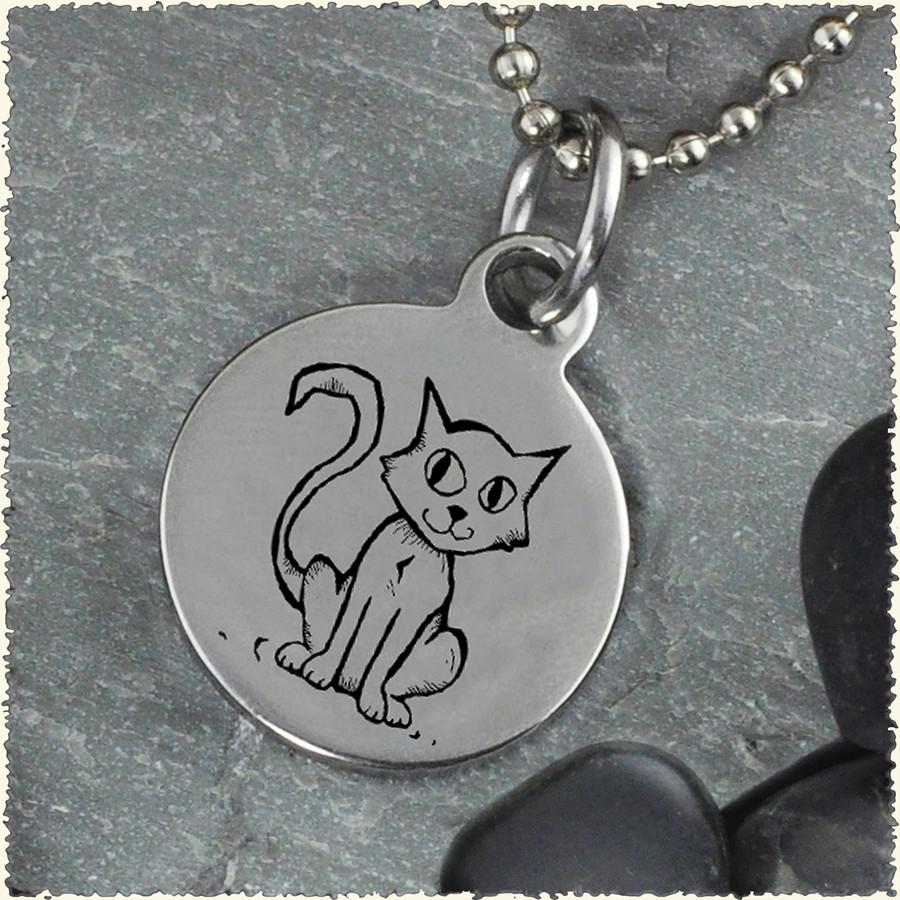 Cat Reversible Stainless Steel Pendant