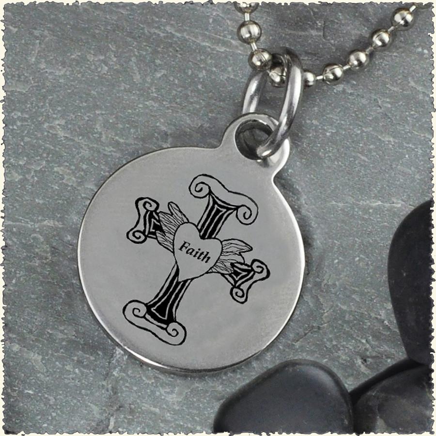 Cross Faith Reversible Stainless Steel Pendant
