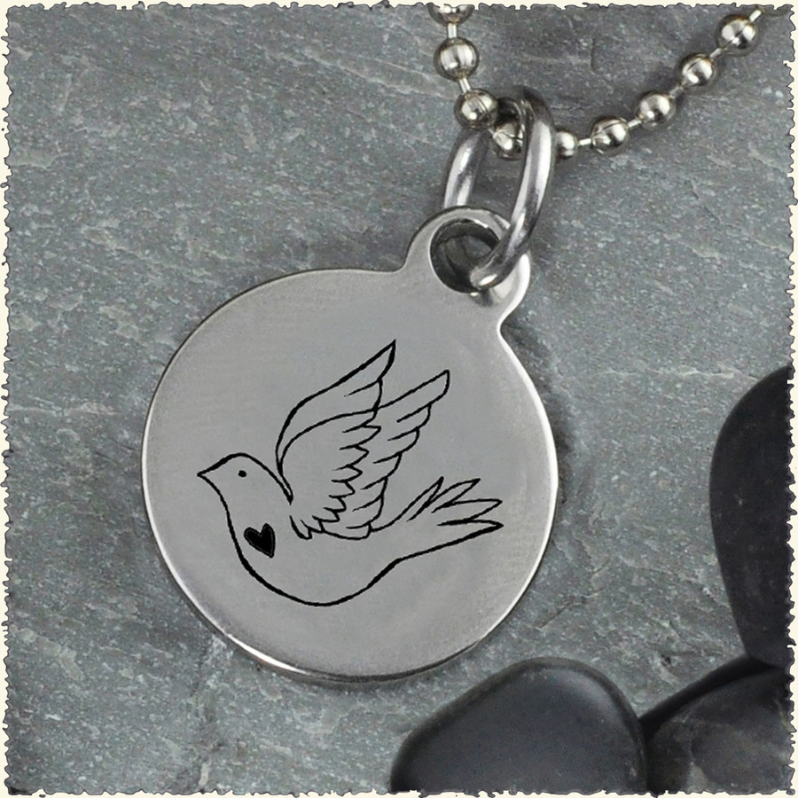 Dove Reversible Stainless Steel Pendant