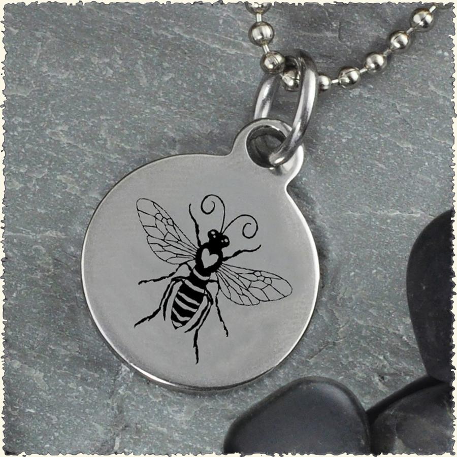 Honey Bee Reversible Stainless Steel Pendant